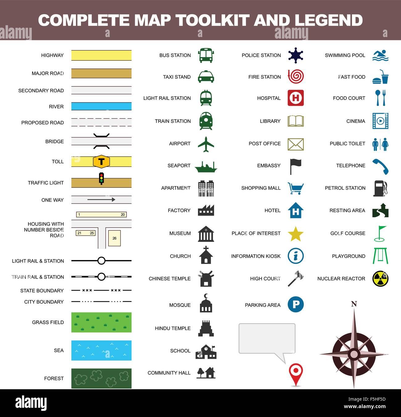 Symbol Legende Symbol Zeichen Toolkit Kartenelement Stock