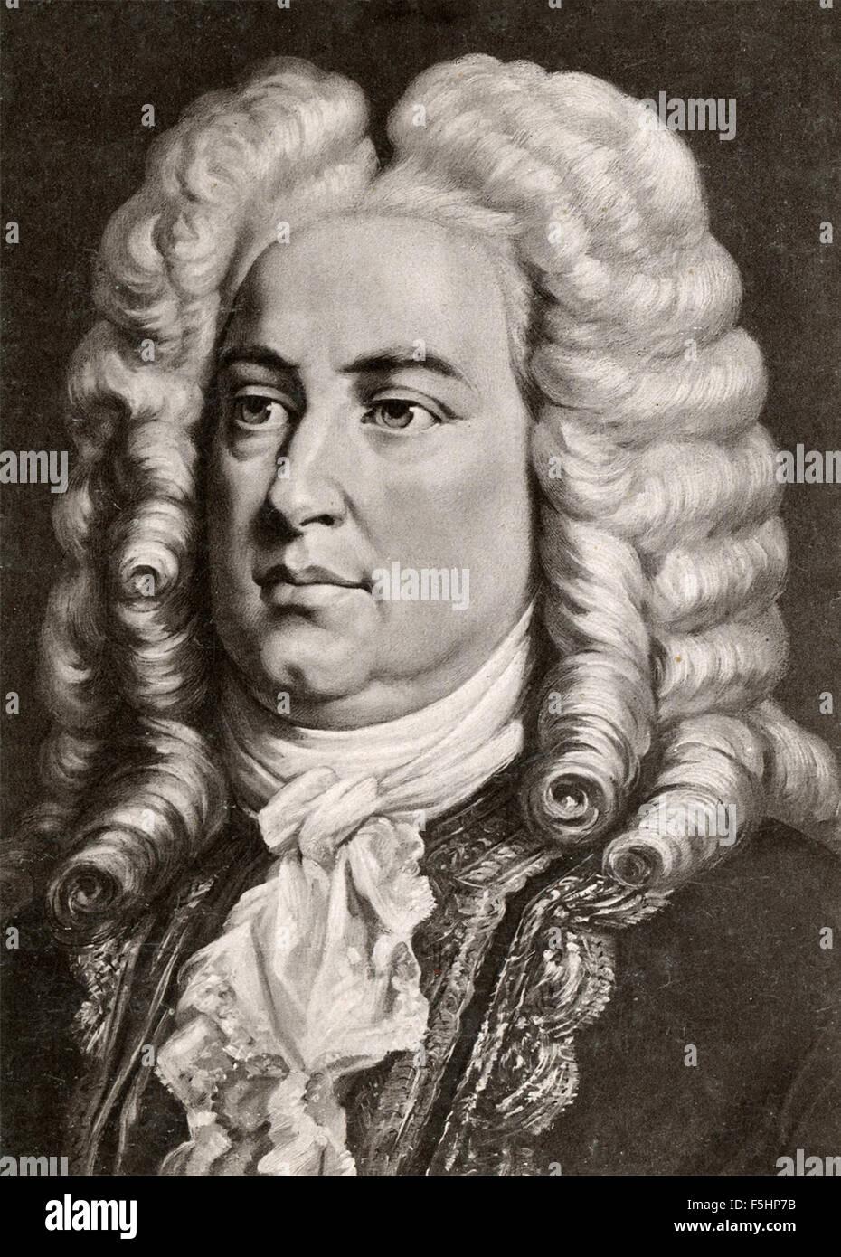 Porträt des deutschen Komponisten Georg Friedrich Händel Stockbild