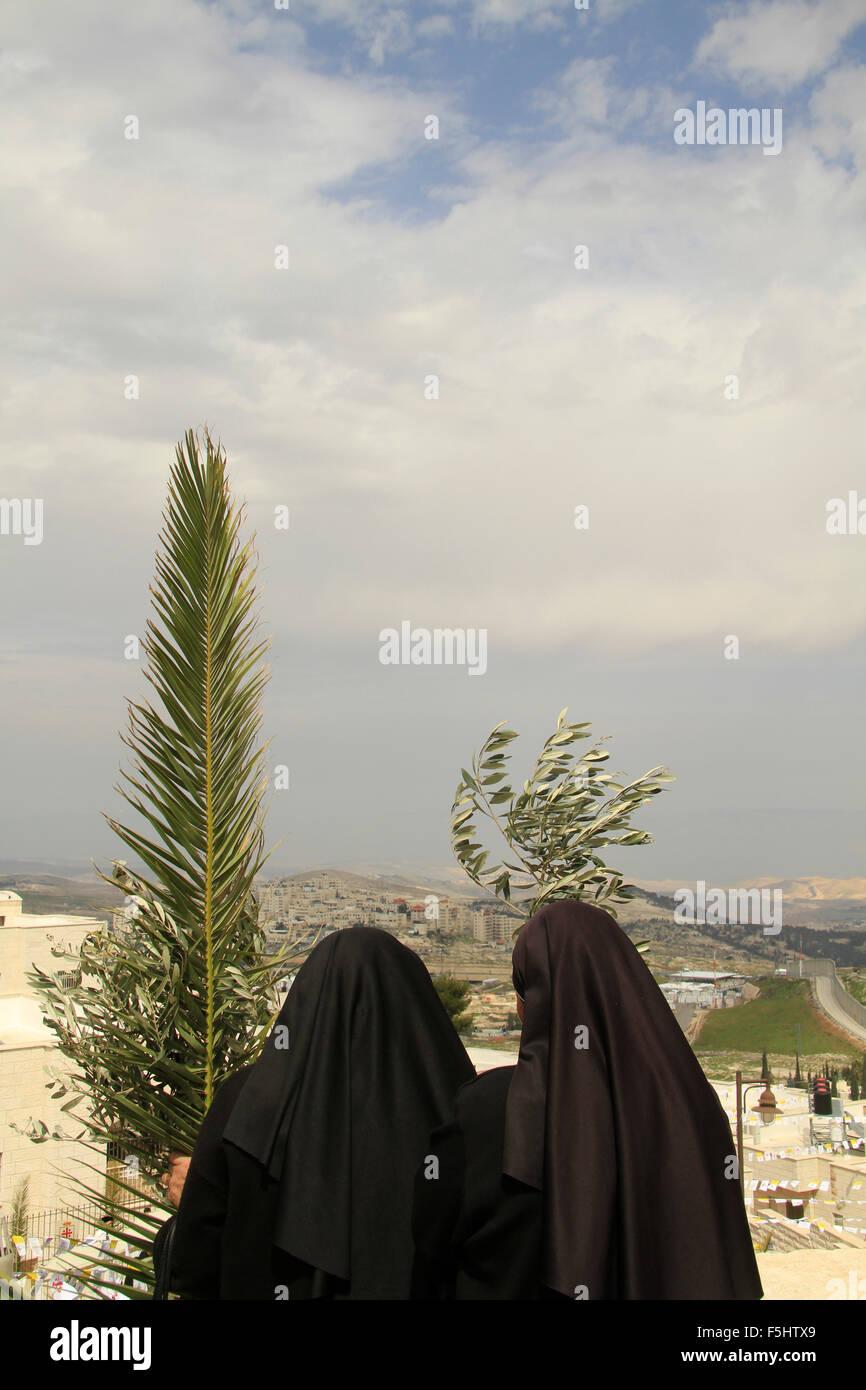 Israel, Jerusalem, am Palmsonntag in der Franziskanerkirche von Bethphage auf dem Ölberg Stockbild