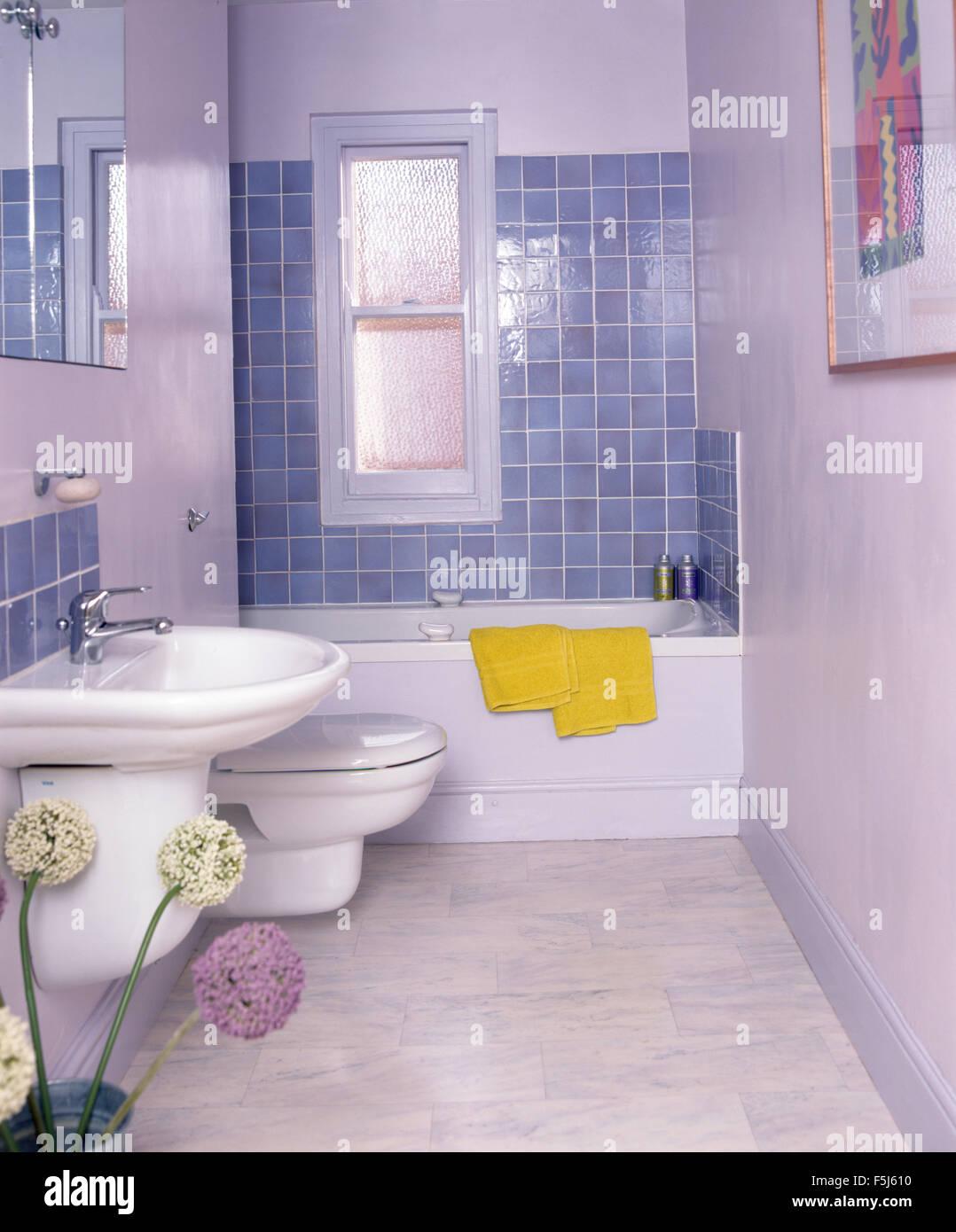 Wand Montiert Becken In Einem Weissen Wirtschaft Stil Badezimmer Mit
