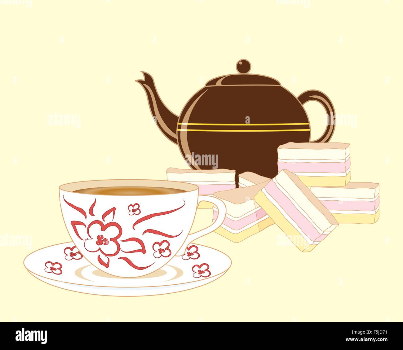Ein Beispiel Fur Eine Ausgefallene Tasse Tee Mit Frischem Kuchen Und
