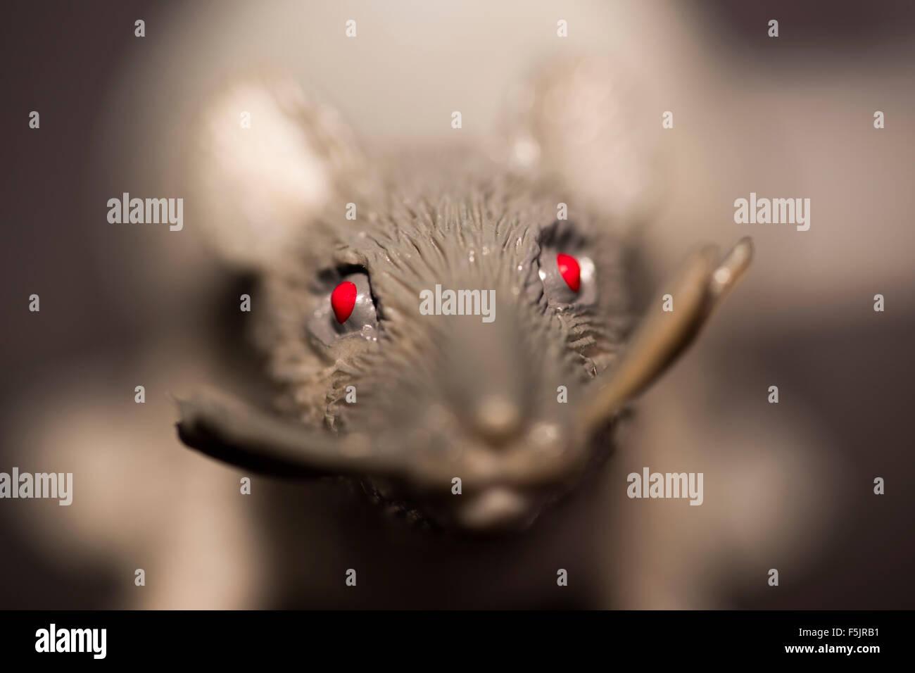 Gruselige Nagetier Mit Glühenden Roten Augen In Die Kamera Schaut
