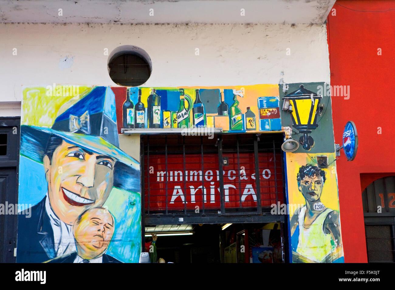 Hommage an Carlos Gardel in San Telmo Markt, Buenos Aires, Argentinien. Carlos Gardel ist der berühmteste Tango Stockbild