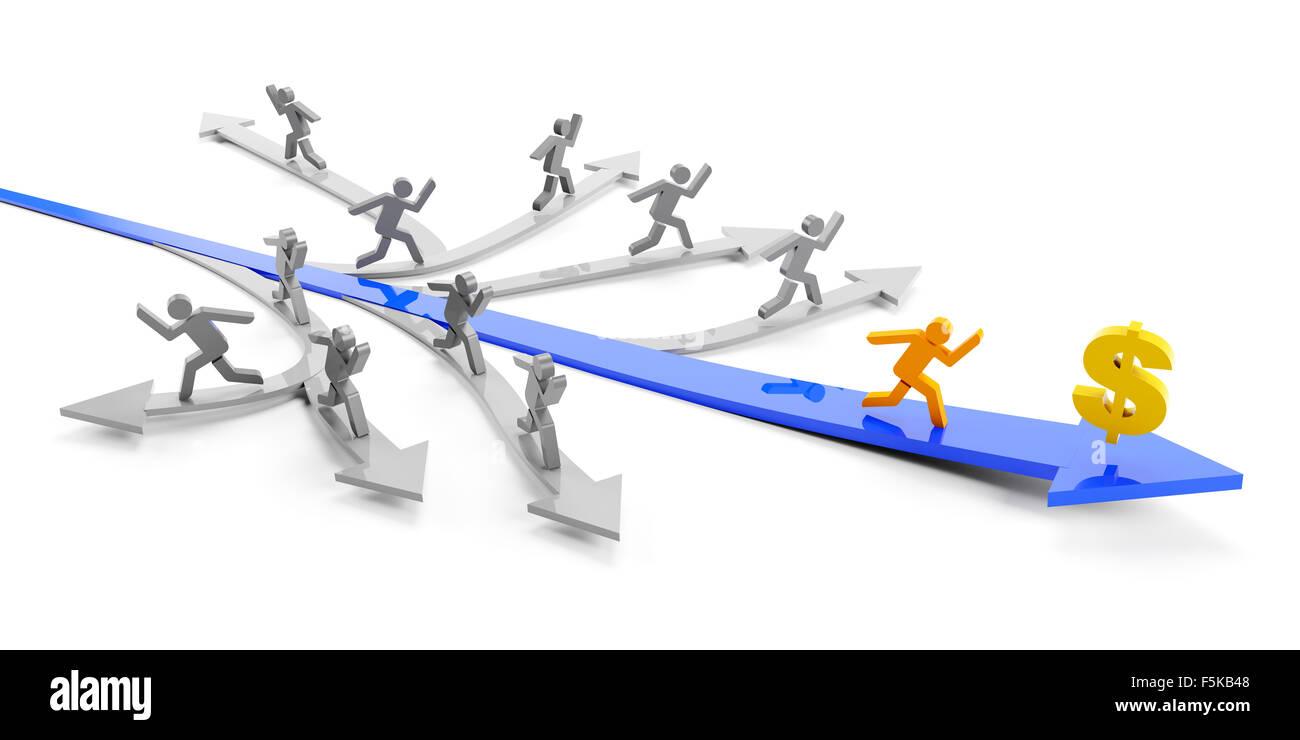 Direkter Weg zum Gewinn Stockbild