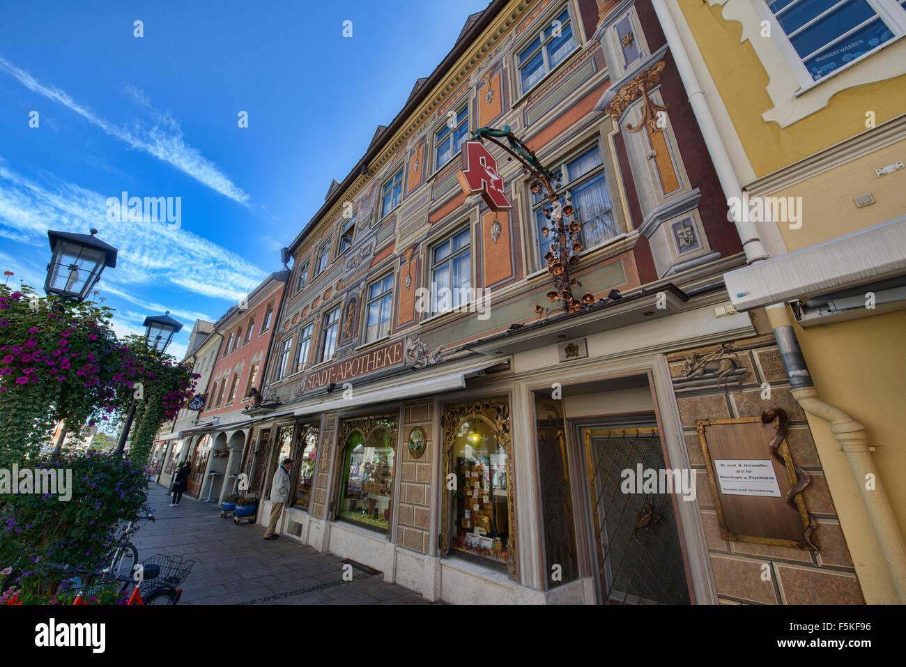 Die bunt bemalten Stadt Apotheke Apotheke in Füssen, Deutschland Stockbild