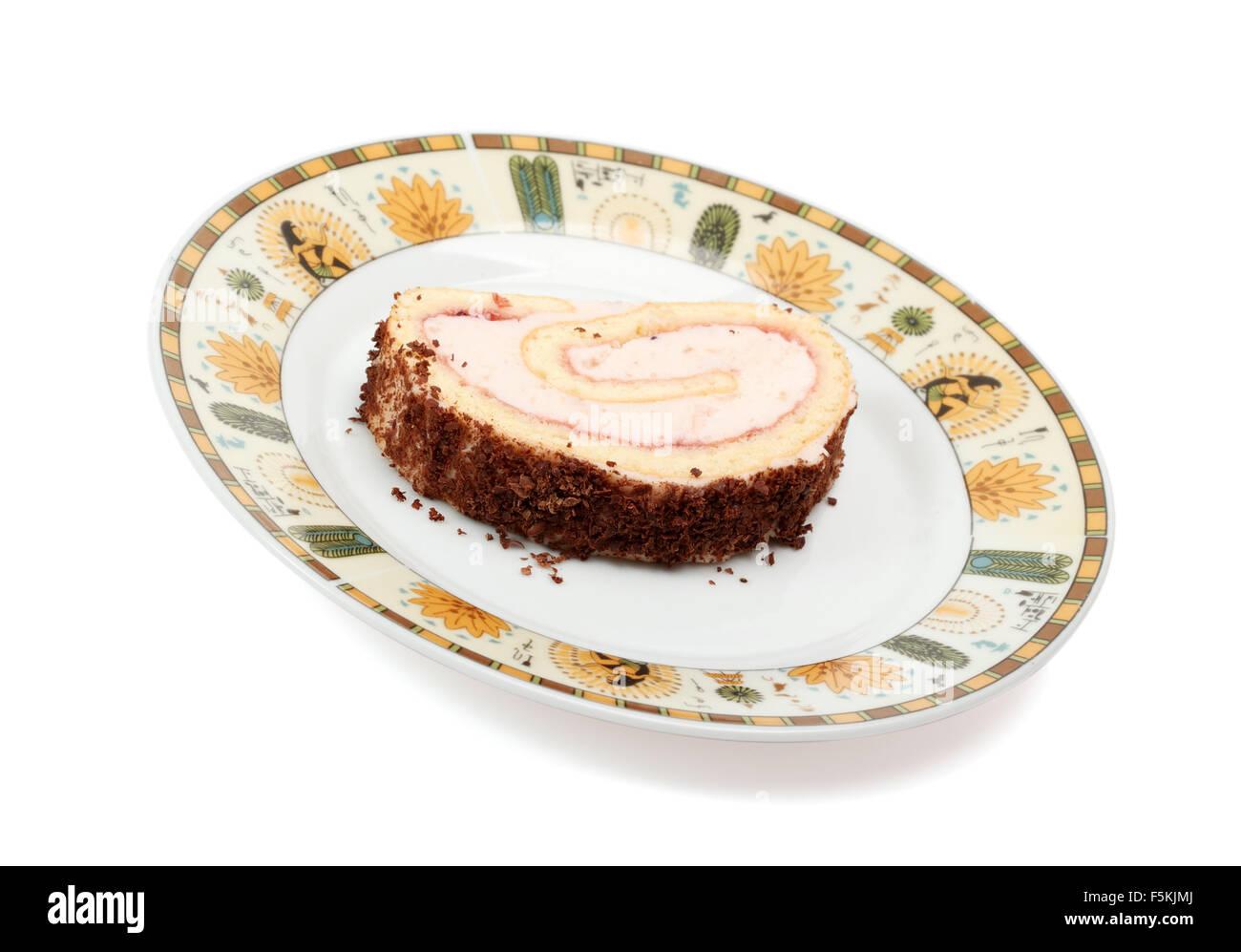 Joghurt Creme Gerollt Kuchen Isoliert Mit Beschneidungspfad