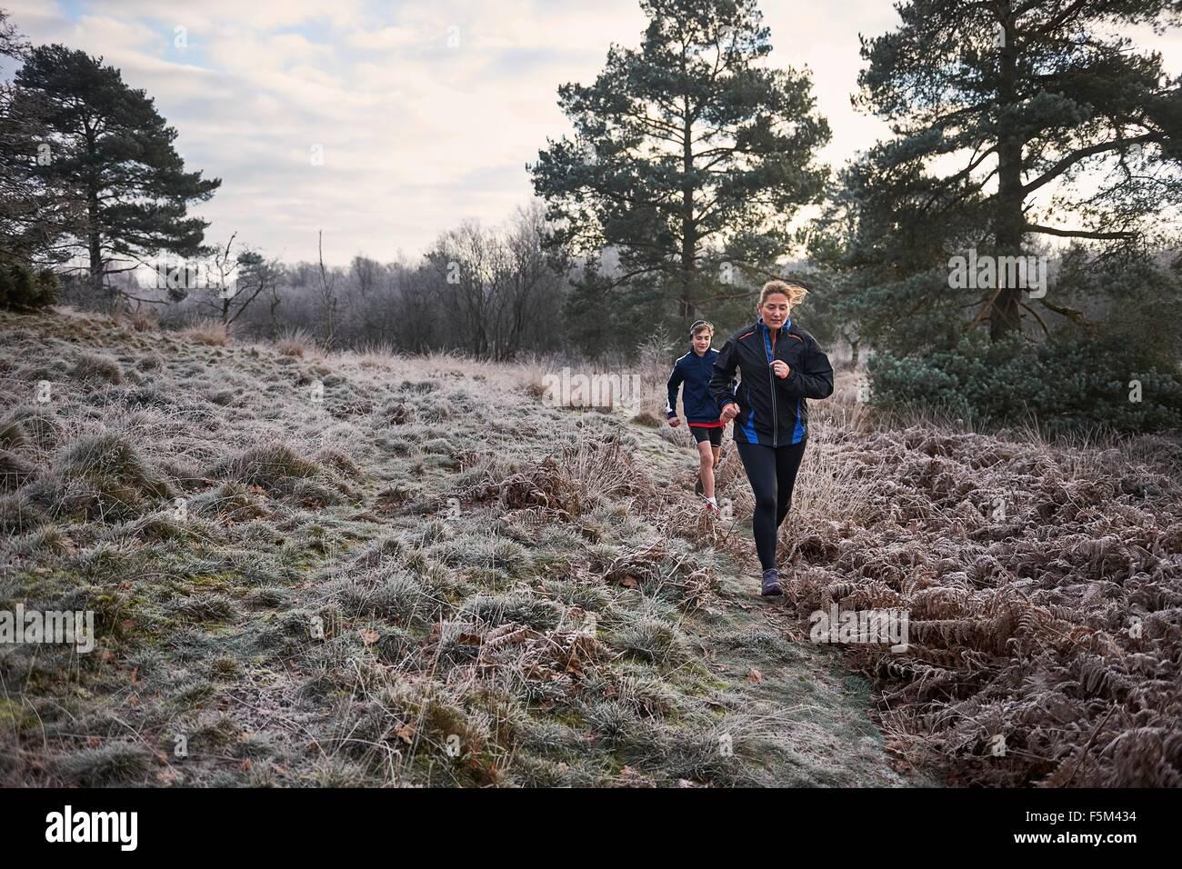 Vorderansicht von Mutter und Sohn läuft auf eisigen Grünland Stockbild