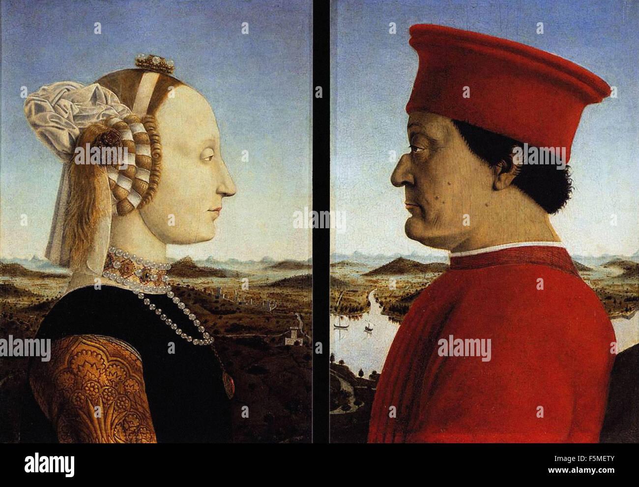 Piero - Porträts von Federico da Montefeltro und seiner Ehefrau Battista Sforza Stockbild