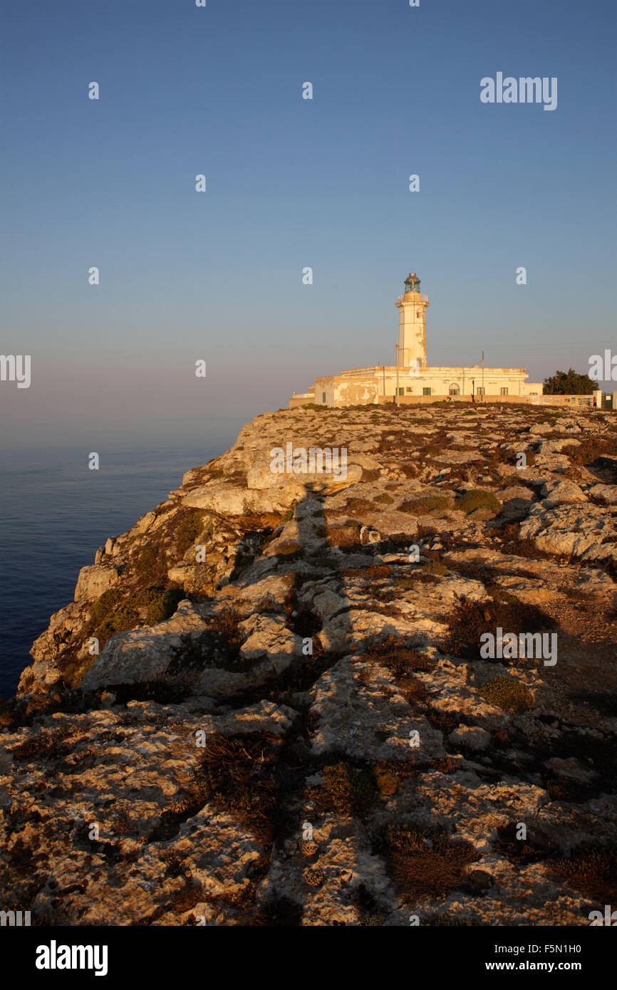 Lampedusa Leuchtturm, Sizilien, Italien Stockbild