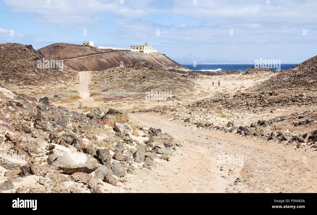 Punta Martino Leuchtturm auf der Insel Lobos in Fuerteventura, Spanien Stockbild