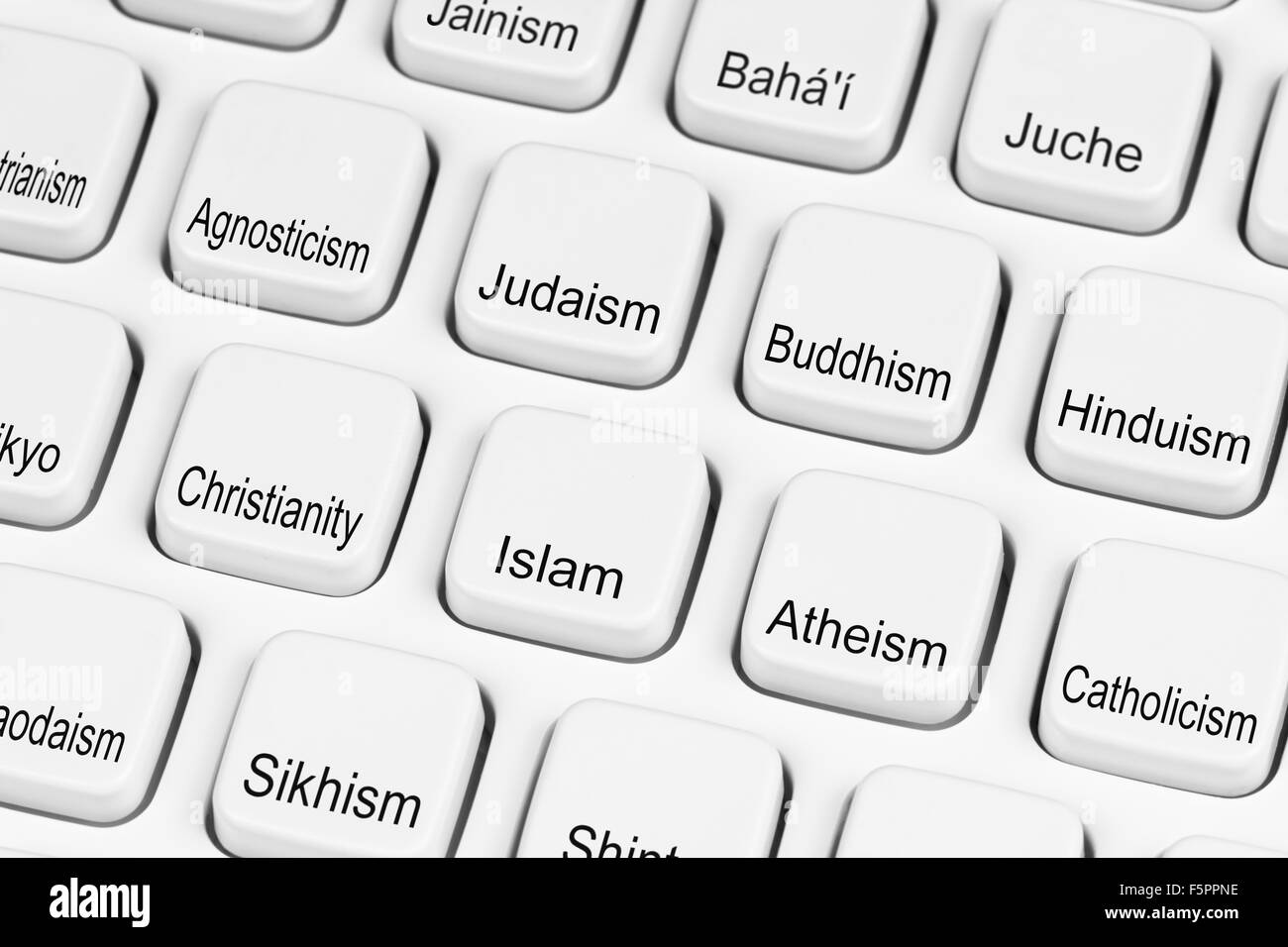 Religion Auswahl Tasten auf einer PC-Tastatur. Verschiedene Religionen Konzept. Wahl der Religionen. Religiöse Stockbild