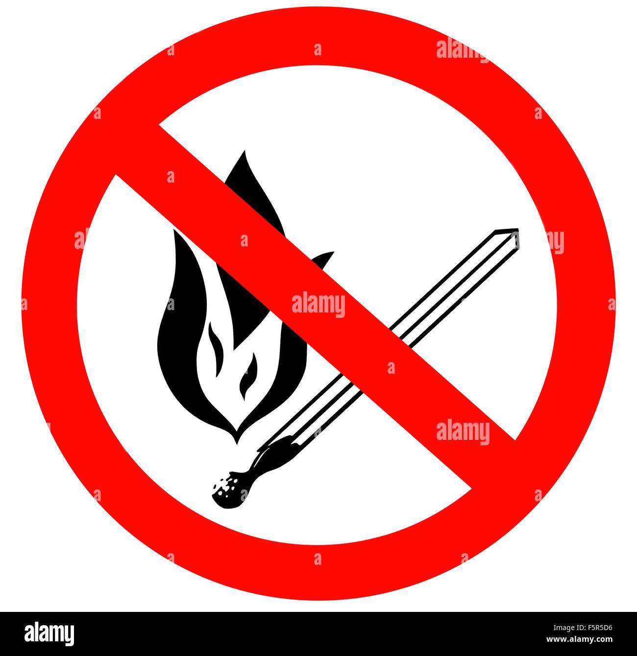kein offenes feuer und rauchen verboten schild stockfoto bild 89634306 alamy. Black Bedroom Furniture Sets. Home Design Ideas