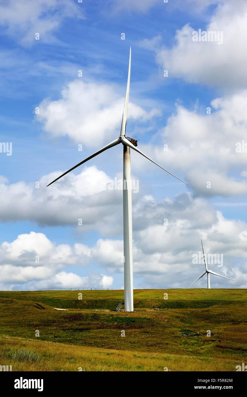 Windkraftanlage in Lancashire ausgebrannt Stockbild