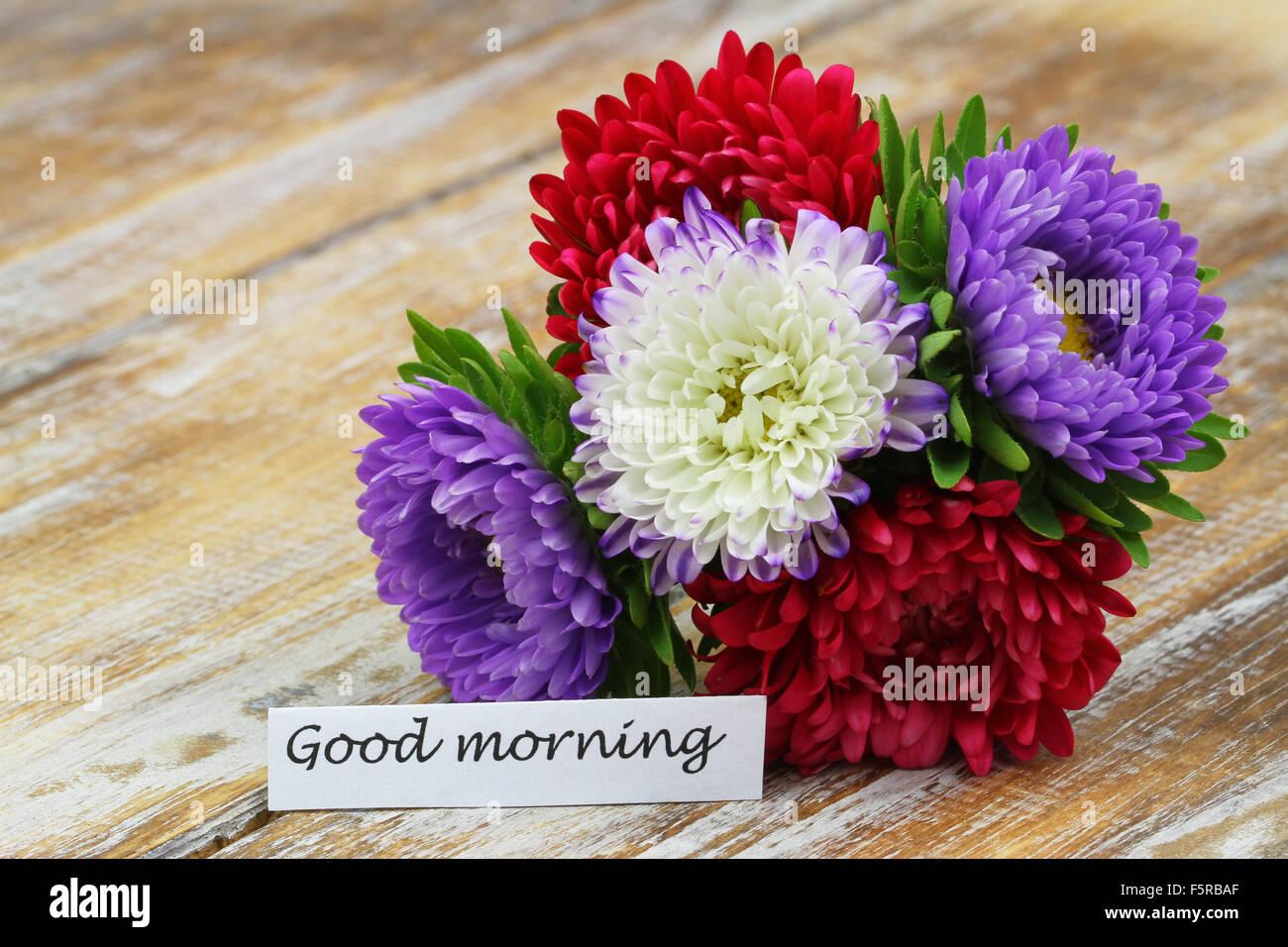 Guten Morgen Karte Mit Bunten Blumenstrauß Auf Rustikalen