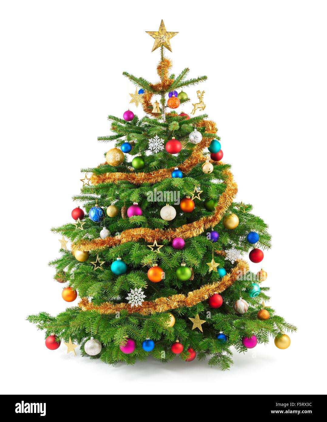 Freudige Studioaufnahme von einem Weihnachtsbaum mit bunten Ornamenten, isoliert auf weiss Stockfoto
