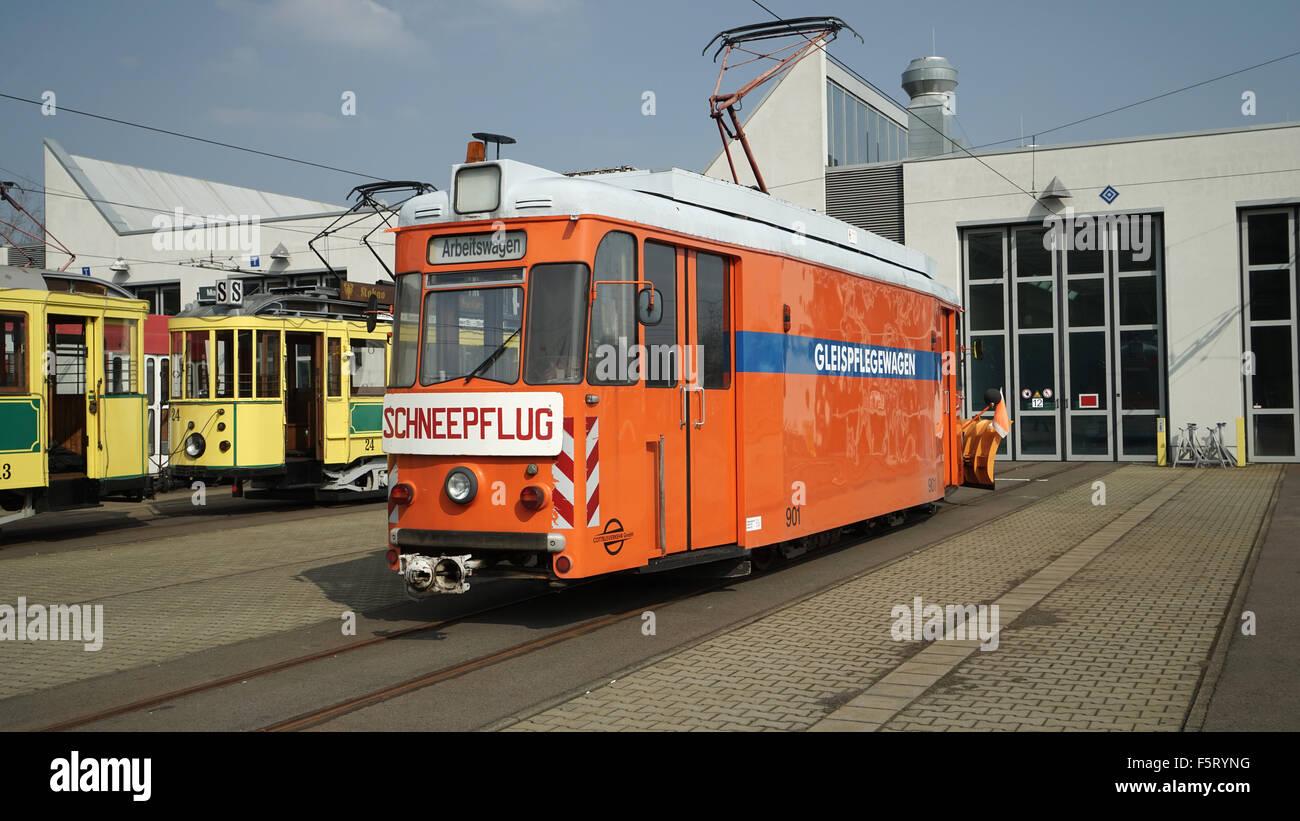 Schneepflug Straßenbahn In Cottbus Depot 2 Stockfoto Bild 89651788