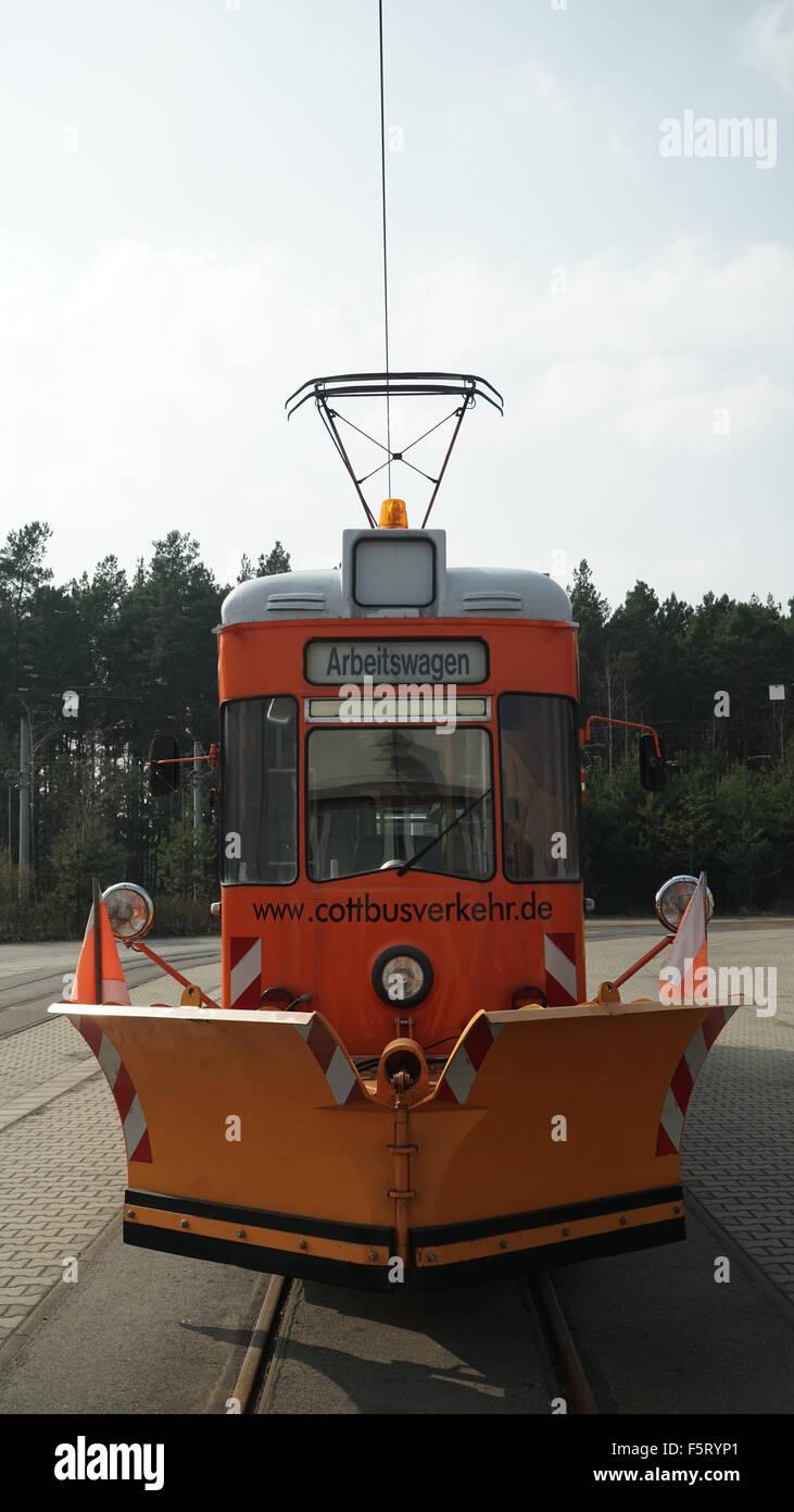 Schneepflug Straßenbahn In Cottbus Depot 1 Stockfoto Bild