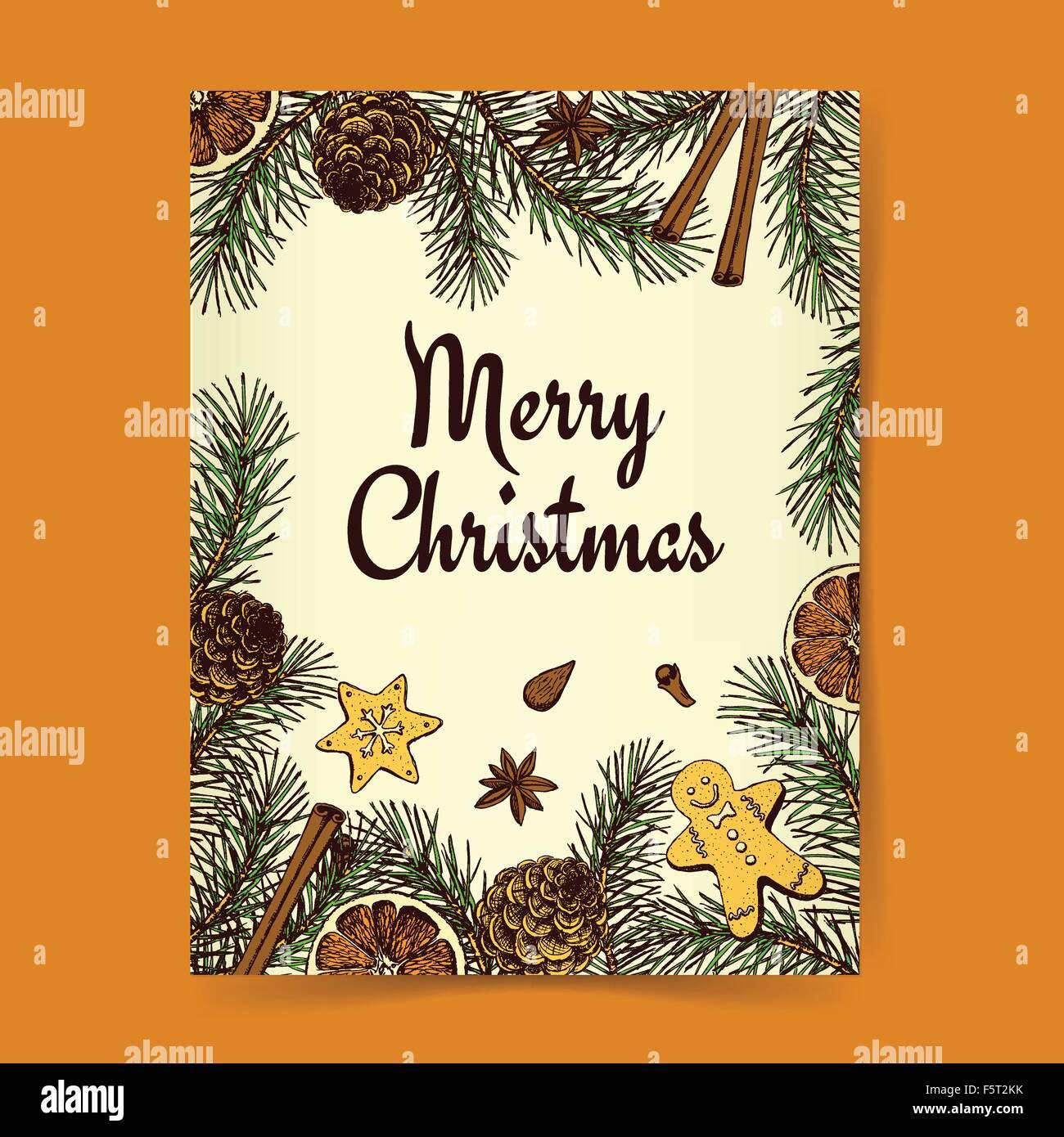 Sketch Weihnachten Hintergrund mit Pinien, Cookies und Gewürze im ...