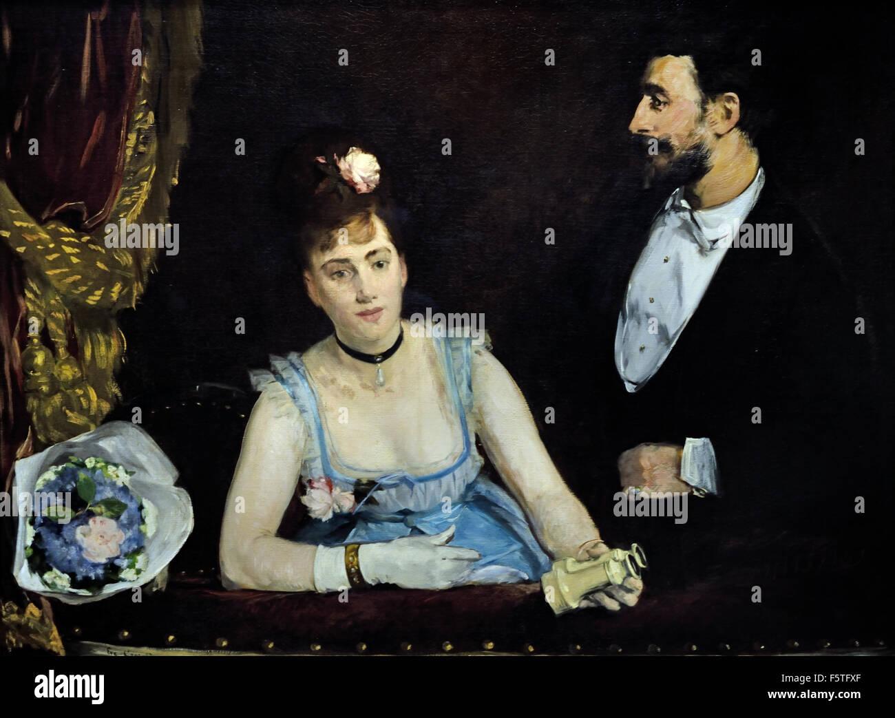 Eva Gonzales-A-Box auf der Théâtre des Italiens - A-Box am Theatre des Italiens 1874 Édouard Manet Stockbild
