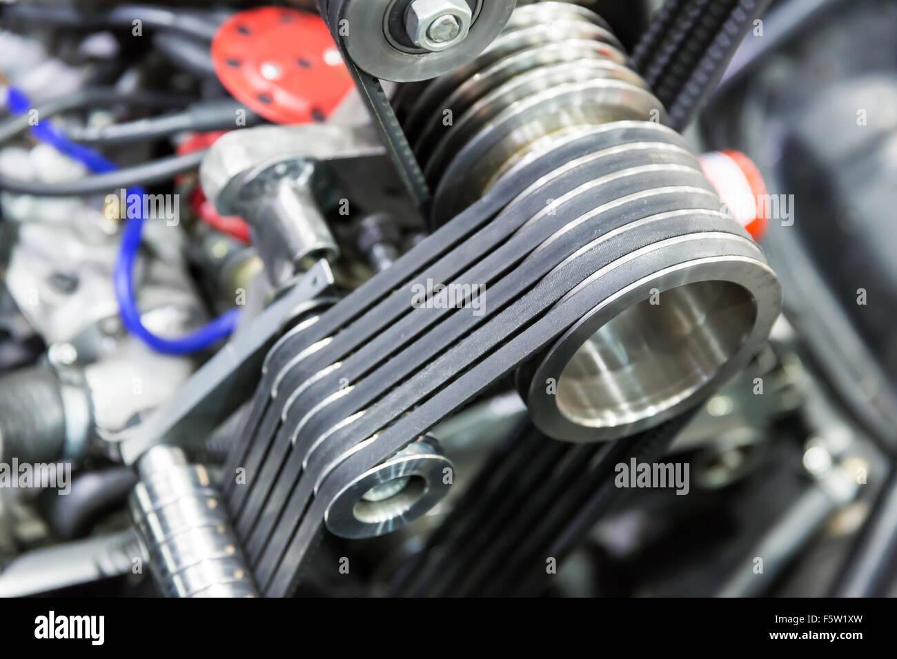 Makro ein leistungsstarkes Auto Motor Teile Stockfoto, Bild ...