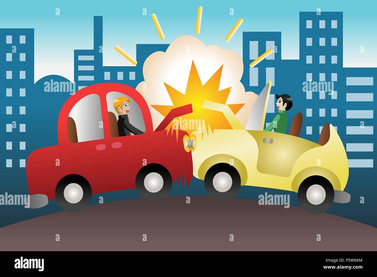 Eine Vektor-Illustration der Autounfall in der Stadt Vektor ...
