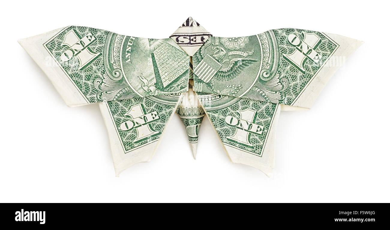 Dollar Origami Schmetterling isoliert auf weißem Hintergrund. Moneygami. Stockbild