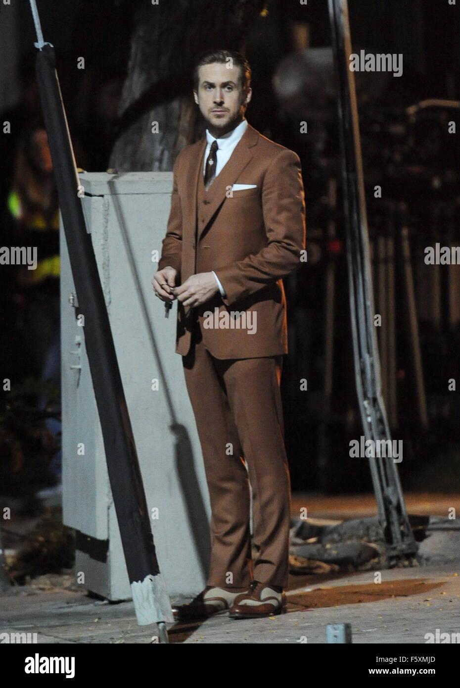 Ryan Gosling Sport Vintage Braunen Anzug Fur Eine Szene In La La