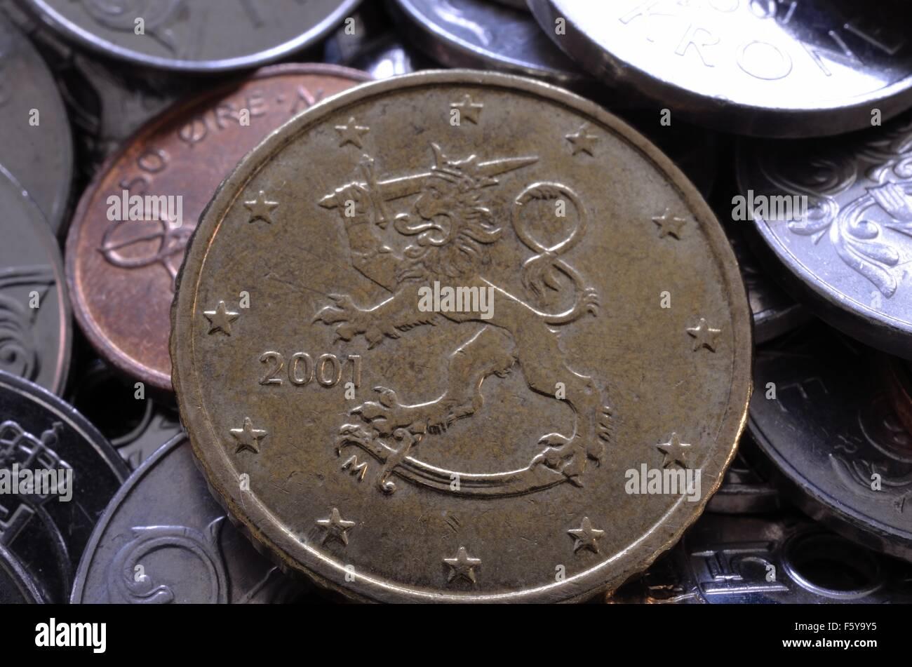 50 Euro Cent Münze Auf Norwegische Eine Krone Und 50 Cent Münzen