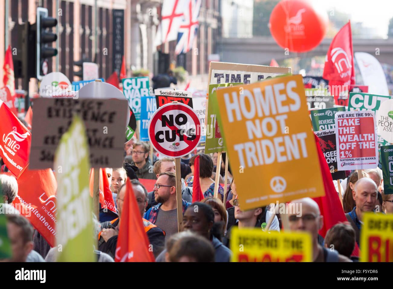Manchester gegen Sparpolitik Protestkundgebung Stockbild