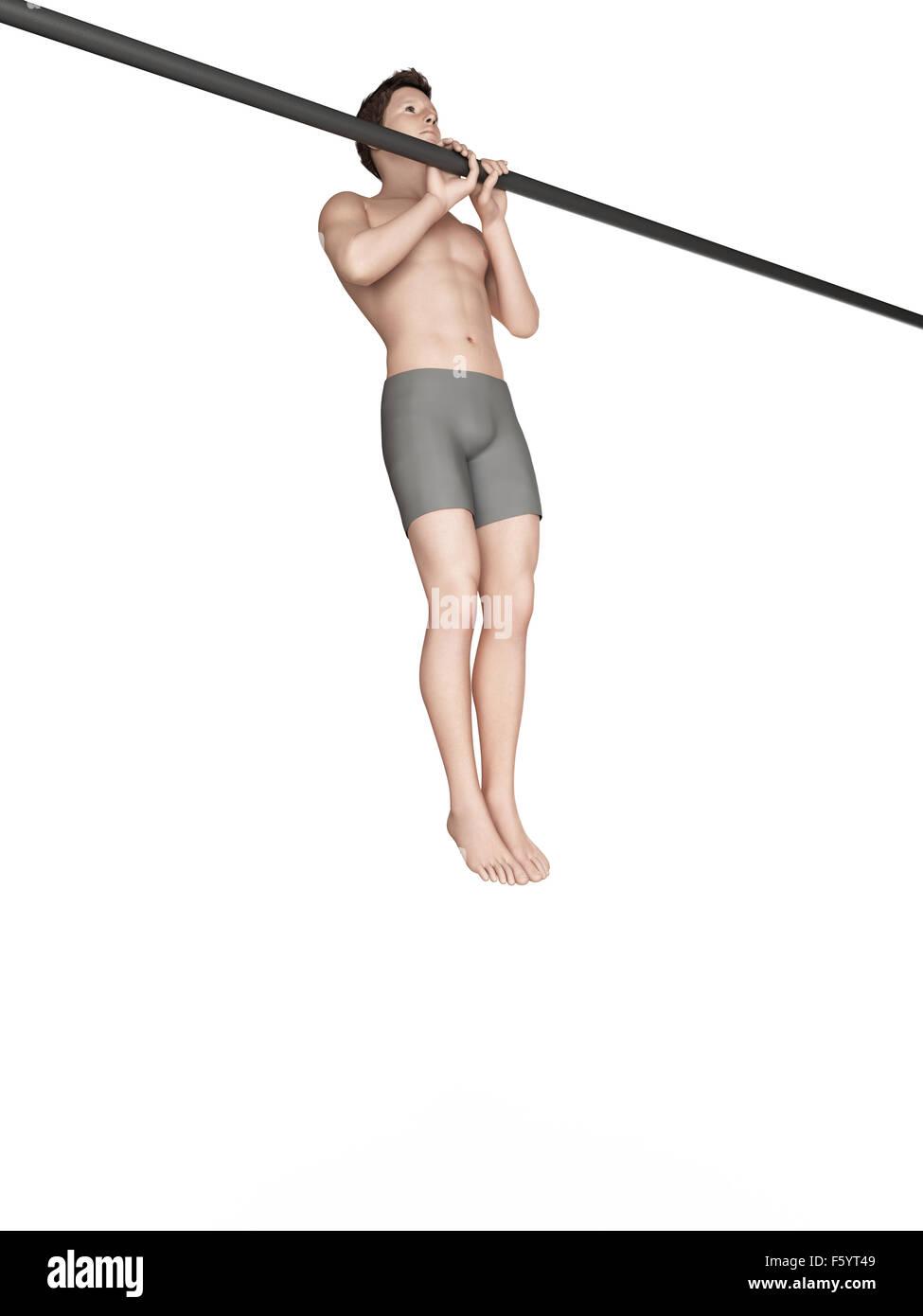 Illustration - enger Griff Klimmzüge trainieren Stockbild