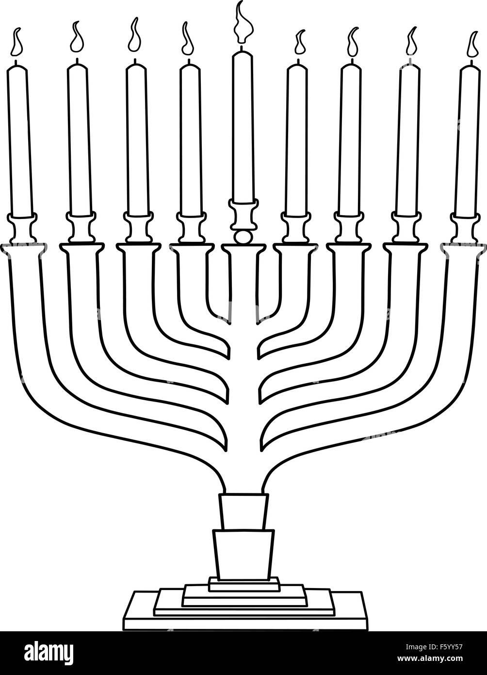 Vektor-Illustration Malvorlagen von Hanukkia mit Kerzen für des ...