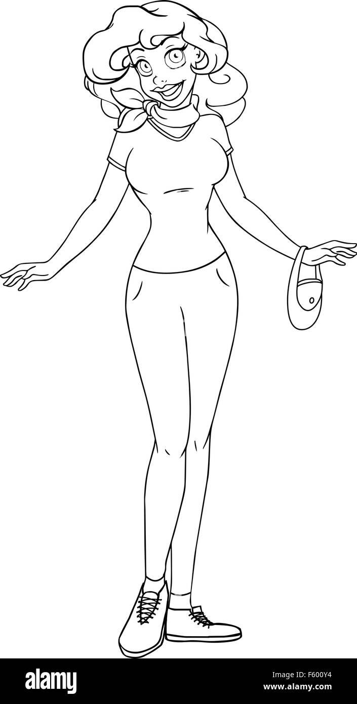 Vektor-Illustration Malvorlagen von ein afrikanisches Mädchen in t ...