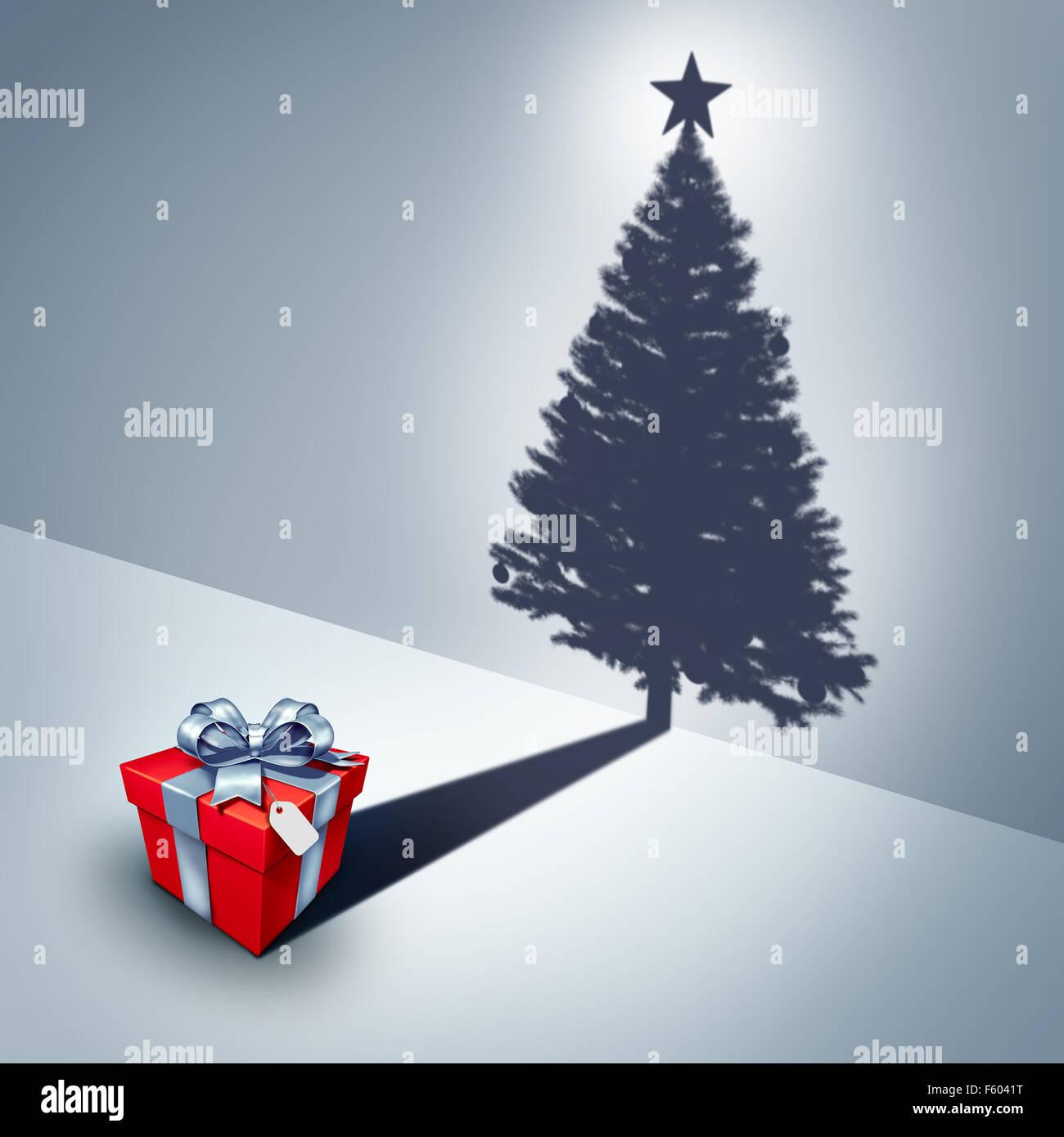 Urlaub Geschenk Traum-Ideen als Geschenk wirft einen Schatten wie ein geschmückter Weihnachtsbaum als surreale Stockbild