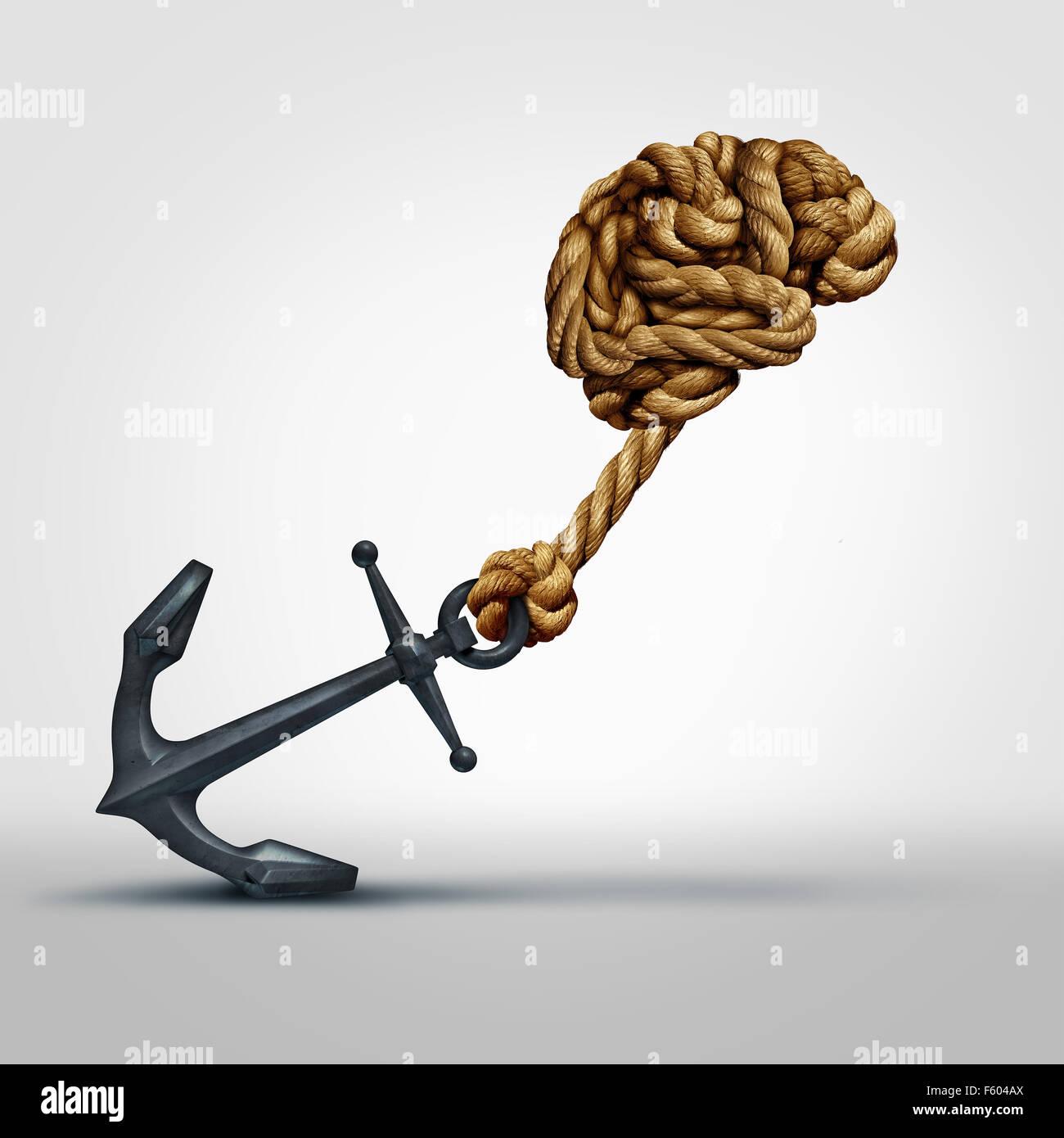 Gehirn-Stärke-Konzept als eine Gruppe von Seilen Form menschlichen Denkens Orgel ziehen einen schweren Anker Stockbild