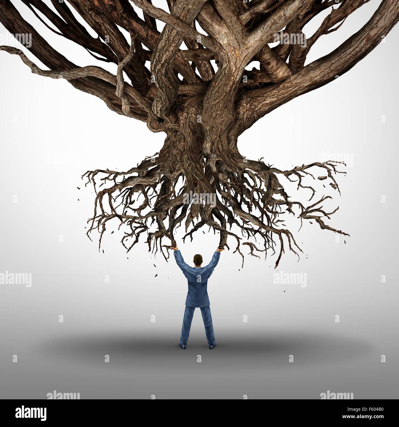 Entwurzelung und Power Konzept und Growt Mamnagement Symbol als Geschäftsmann hält einen umstürzenden Stockbild