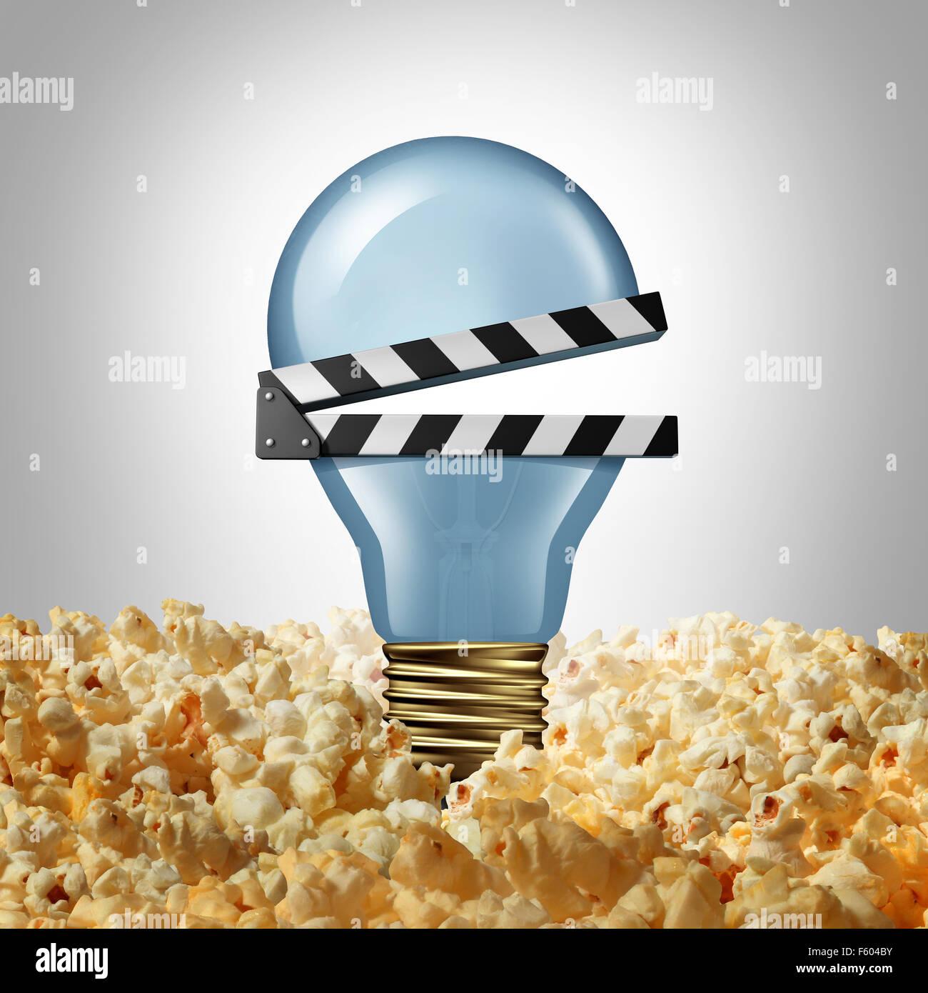 Film Idee Konzept und Kino Kreativität Symbol als eine Glühlampe oder Glühbirne in Popcorn als eine Stockbild