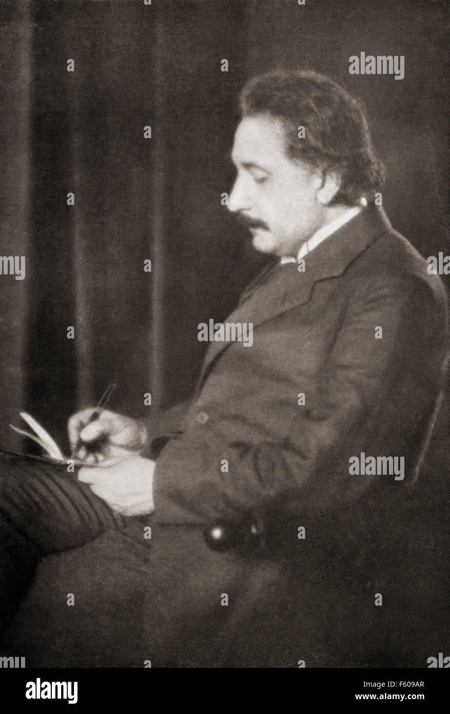 Albert Einstein, 1879 – 1955.  Deutsch-stämmige theoretischer Physiker. Er entwickelte die allgemeine Relativitätstheorie. Stockfoto