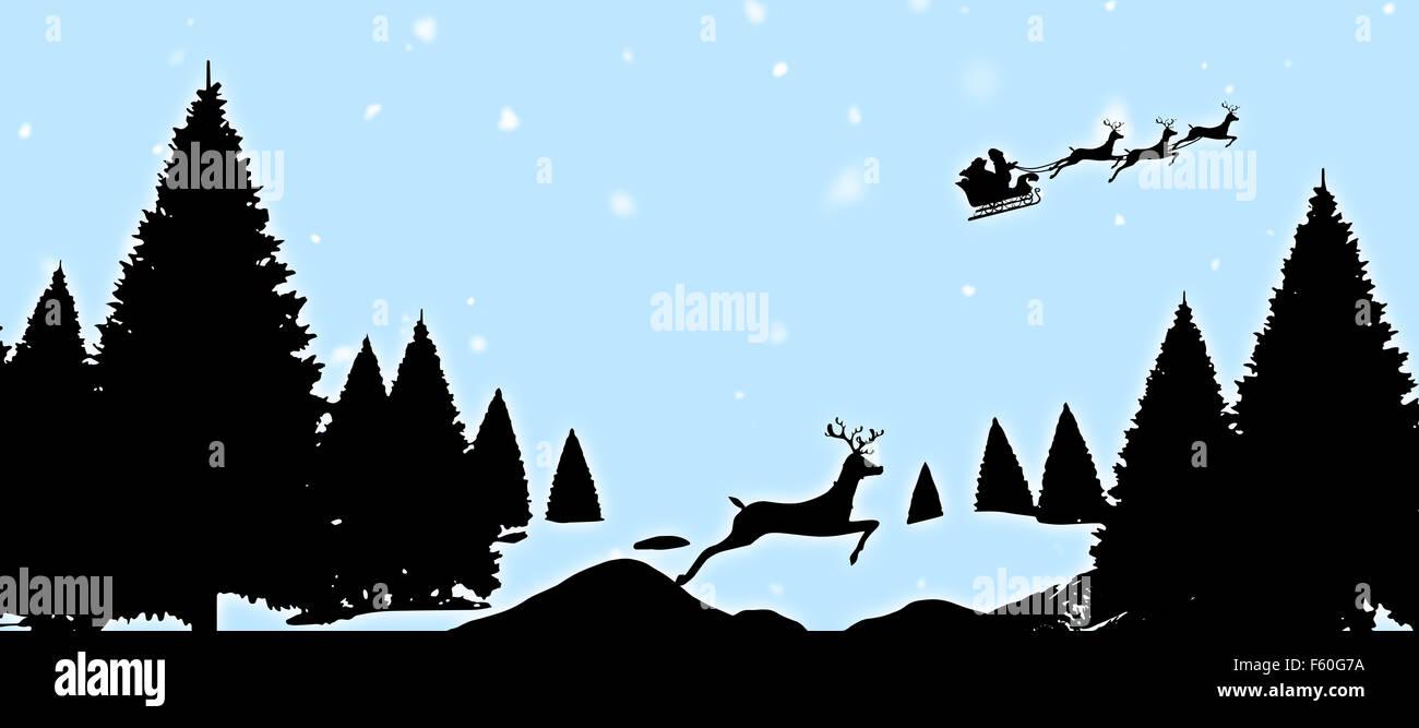 Zusammengesetztes Bild von Weihnachten Szene silhouette Stockfoto ...