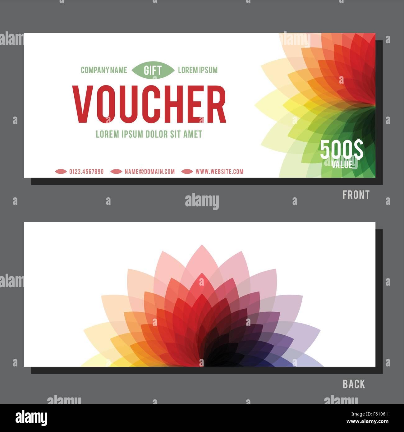 Gift Voucher Template Abstract Floral Stockfotos & Gift Voucher ...
