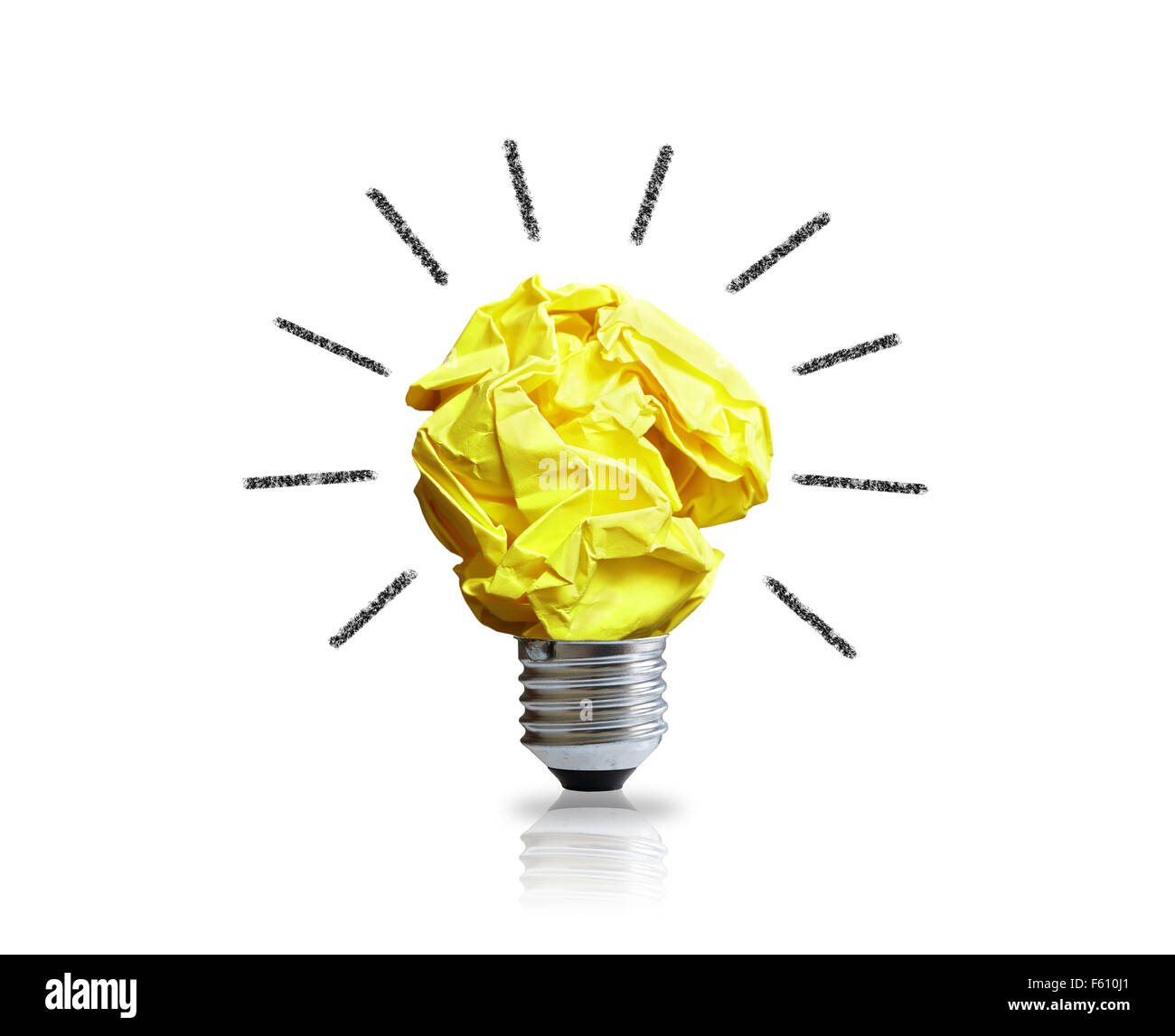 Inspiration-Konzept zerknittertes Papier Glühbirne Metapher für gute Idee Stockbild
