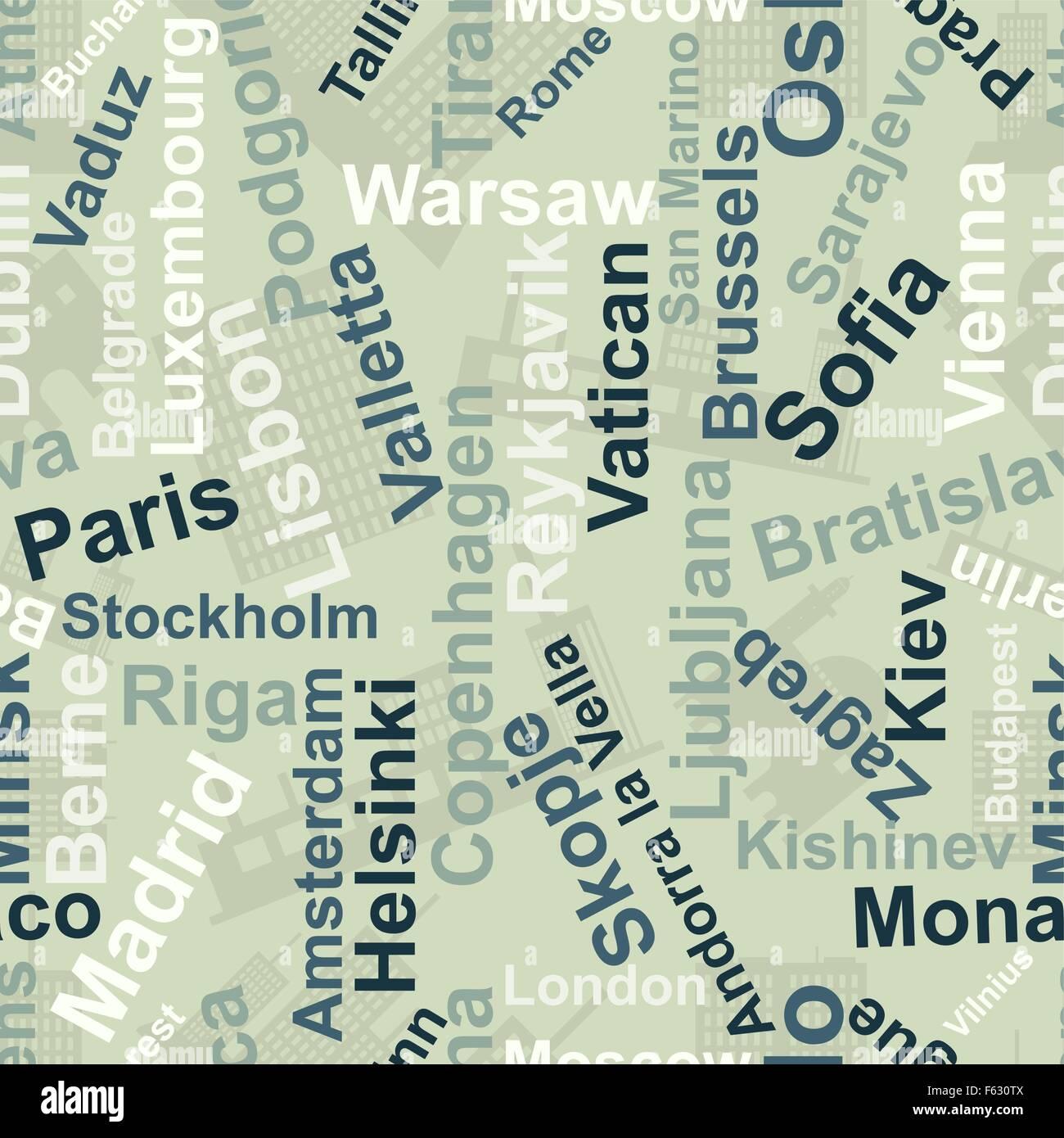 Herkunft der Namen der Hauptstädte des Europe.Vector Stockbild