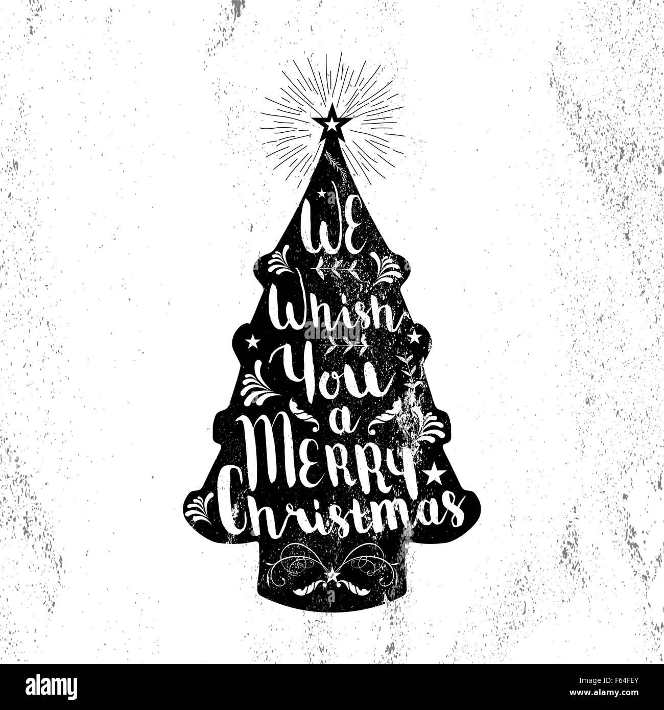 frohe weihnachten schwarz wei hipster kiefer baumform auf papier textur hintergrund mit vintage. Black Bedroom Furniture Sets. Home Design Ideas