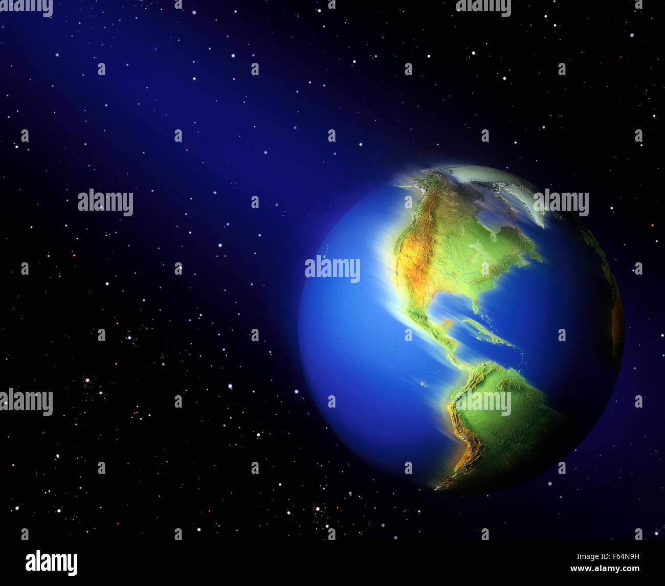 Erde dreht unter Sternen im Weltraum Stockbild