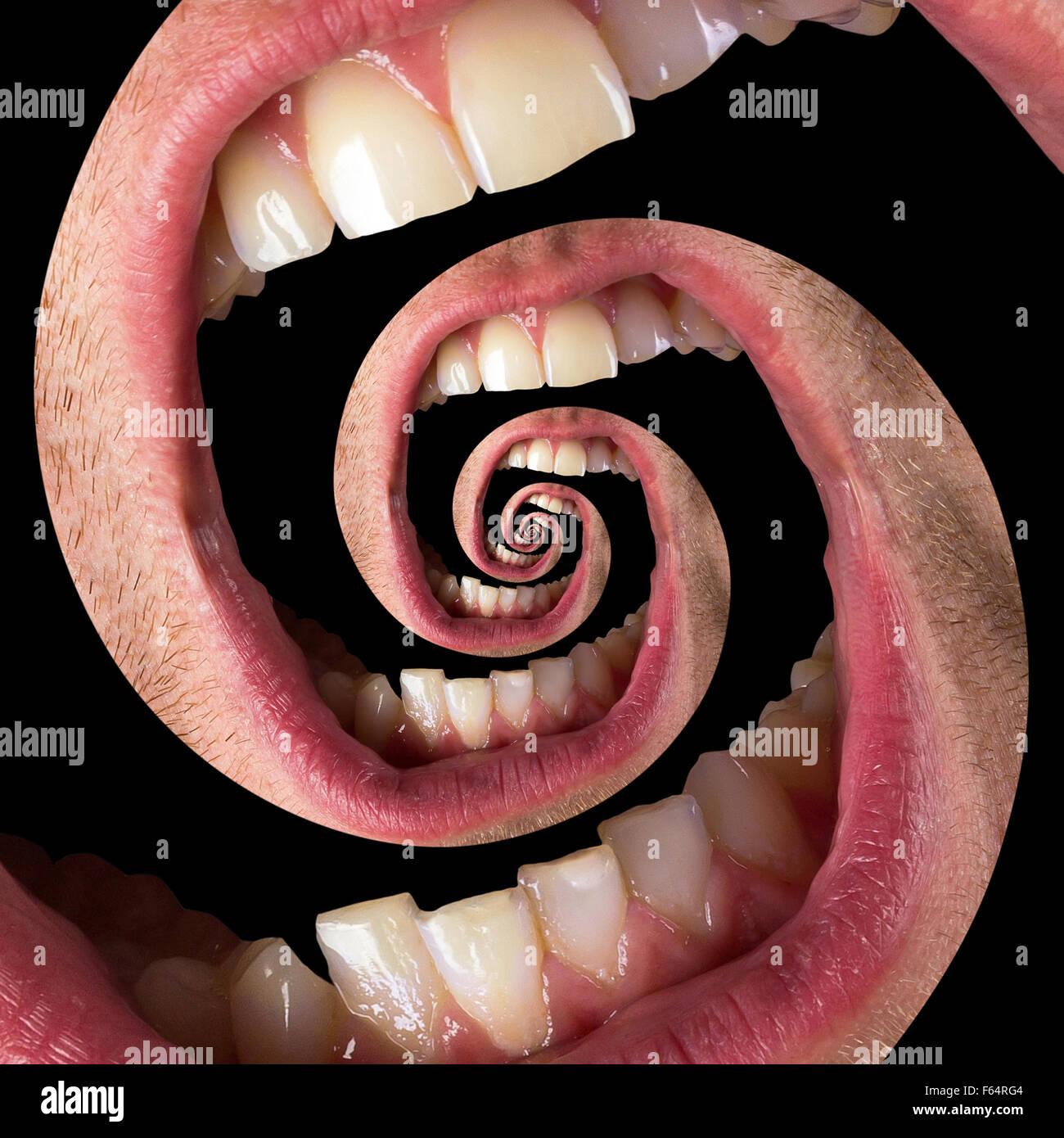 Verdrehte menschliche Mund isoliert auf schwarz. Schmerz-Konzept Stockbild