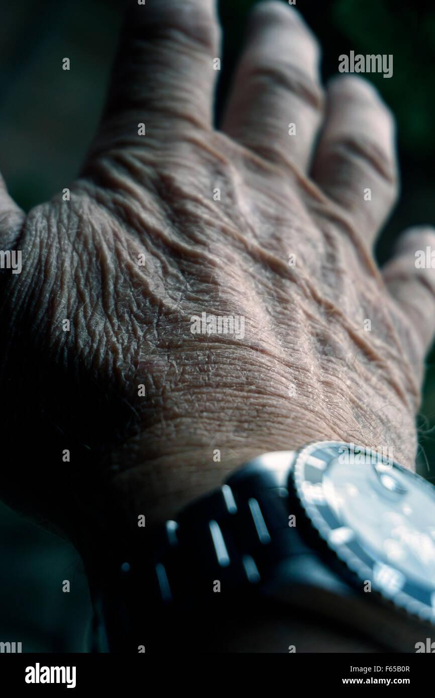 Old mans Hand und Uhr Stockbild