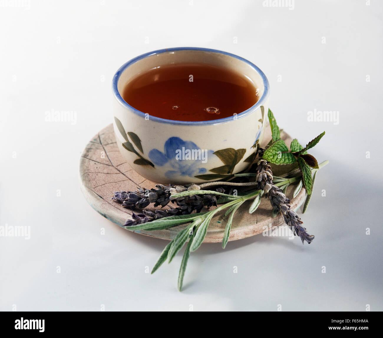 Lavendel und Minze infusion Stockfoto
