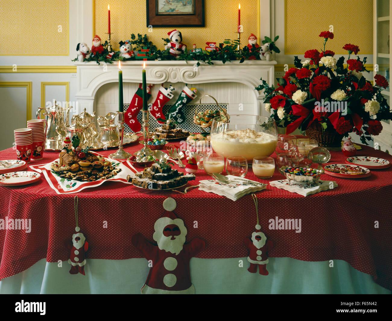 Weihnachten Tischdekoration In Den Usa Stockfoto Bild