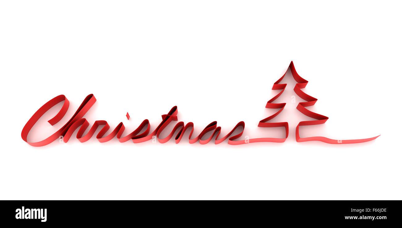 Band bilden das Wort Weihnachten und Weihnachtsbaum Stockfoto, Bild ...