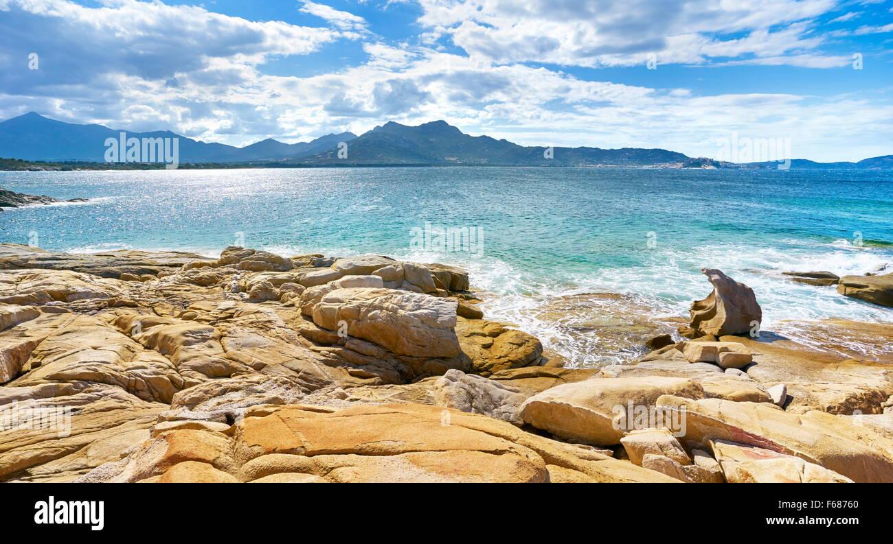 Die Küste in der Nähe von Lumio, Balagne, Korsika, Frankreich Stockbild