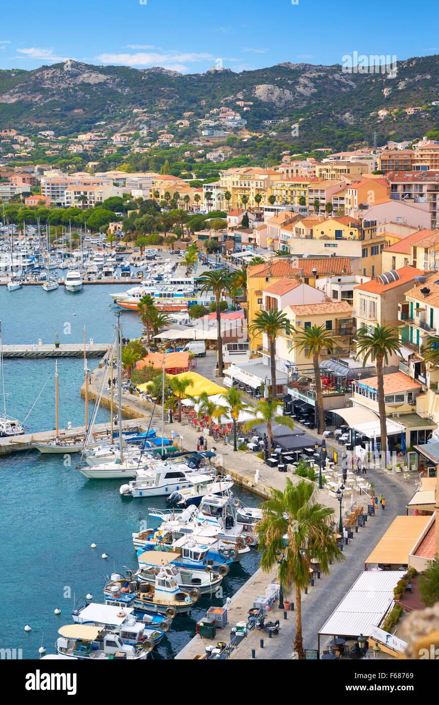 Yachthafen von Calvi, Balagne, Westküste, Korsika, Frankreich Stockbild